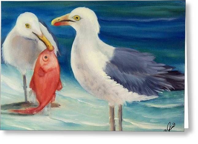 Coast Greeting Cards - Seafood for Two Greeting Card by Joni McPherson