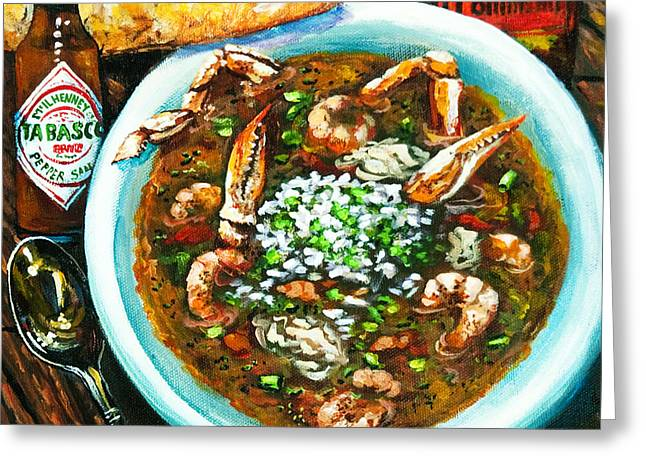 Gumbo Greeting Cards - Seafood Gumbo Greeting Card by Dianne Parks