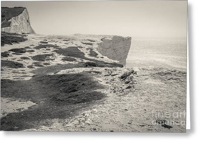 Black And White; High Seas; Danger; Greeting Cards - Seaford Head 4 Greeting Card by Marcin Rogozinski