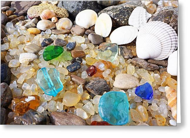 Seaglass Art Prints Sea Glass Shells Agates Greeting Card by Baslee Troutman Art Prints