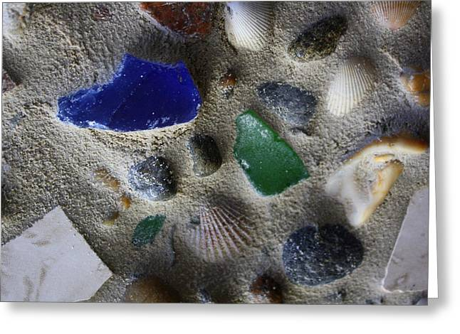 Ocean Shore Mixed Media Greeting Cards - Seaglass Shells Rocks Greeting Card by Anne Babineau