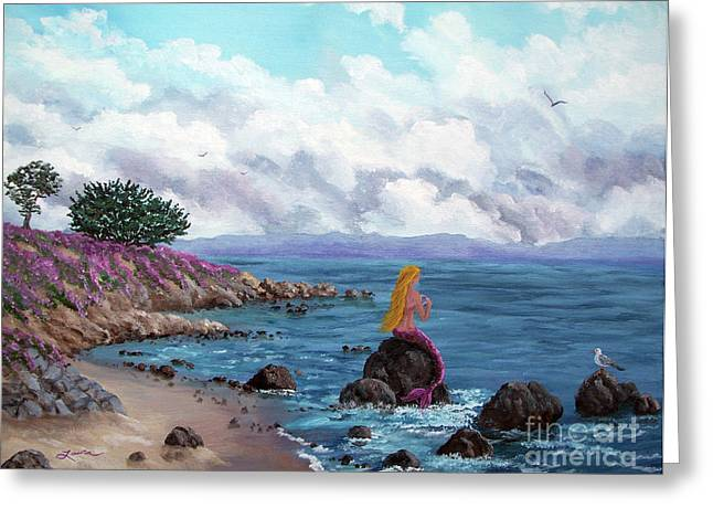 Pacific Grove Greeting Cards - Seagull Cove Greeting Card by Laura Iverson
