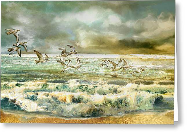 Sea Birds Mixed Media Greeting Cards - Seagulls at sea Greeting Card by Anne Weirich