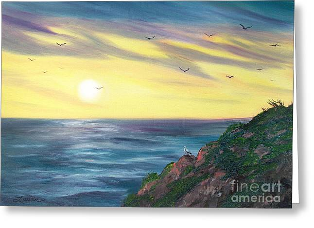 Half Moon Bay Greeting Cards - Seagulls at Sunset Greeting Card by Laura Iverson