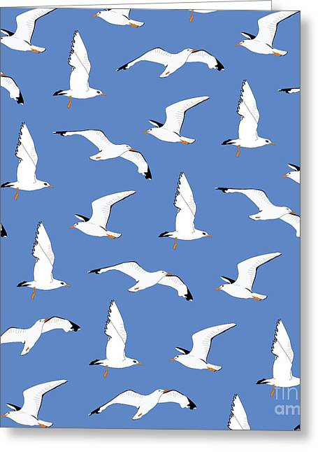 Seagulls Gathering At The Cricket Greeting Card by Elizabeth Tuck