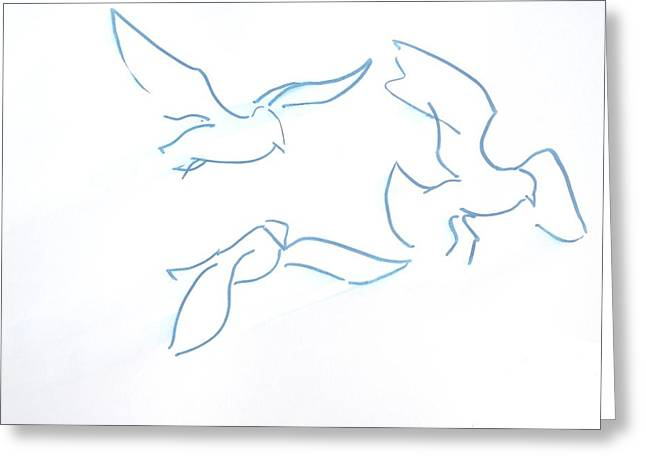 Flying Seagull Greeting Cards - Seagulls Line Illustration Greeting Card by Mike Jory
