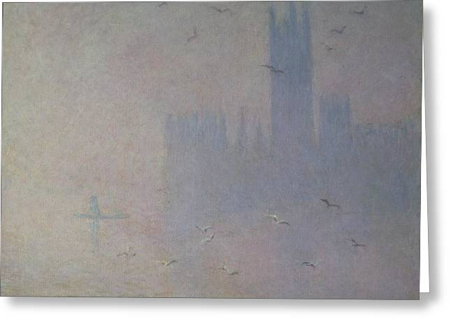 River Mist Greeting Cards - Seagulls over the Houses of Parliament Greeting Card by Claude Monet