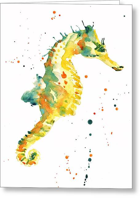 Beach Cottage Greeting Cards - Seahorse  - yellow seahorse Greeting Card by Alison Fennell