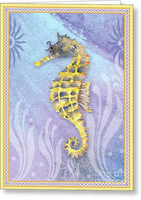 Seahorse Blue Greeting Card by Amy Kirkpatrick