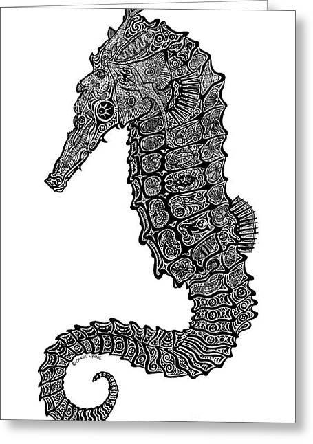 Tropical Beach Drawings Greeting Cards - Seahorse Greeting Card by Carol Lynne