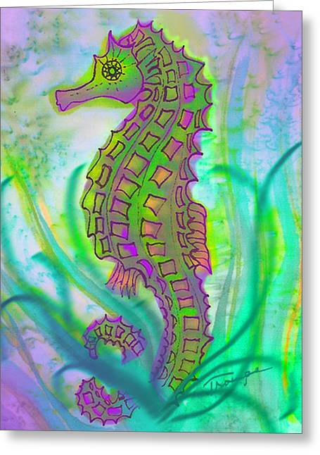 Cellphone Greeting Cards - Seahorse  Greeting Card by Connie  Troupe