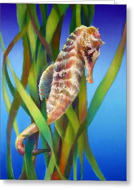 Seahorse I Among The Reeds Greeting Card by Nancy Tilles