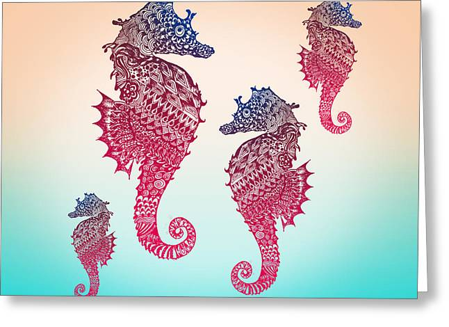 Childrens Poster Greeting Cards - Seahorse Greeting Card by Mark Ashkenazi