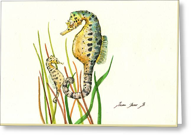 Seahorse Mom And Baby Greeting Card by Juan Bosco