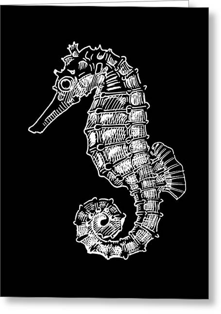 Wild Life Drawings Greeting Cards - Seahorse on Black Greeting Card by Masha Batkova