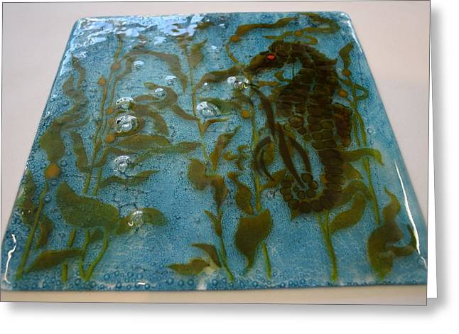 Panel Glass Art Greeting Cards - Seahorse Panel Greeting Card by Rosalind Duffy