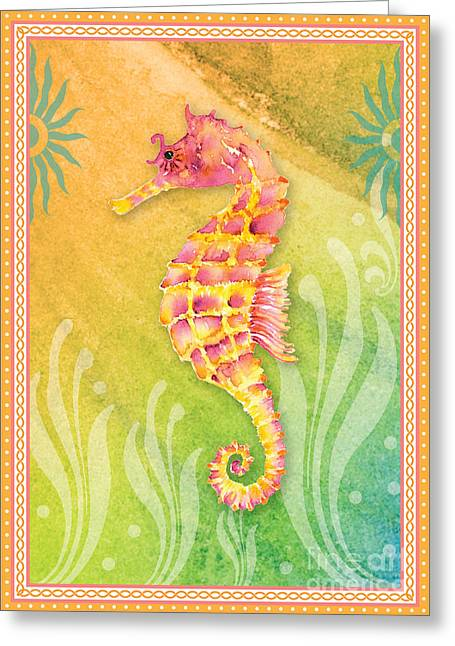 Seahorse Pink Greeting Card by Amy Kirkpatrick