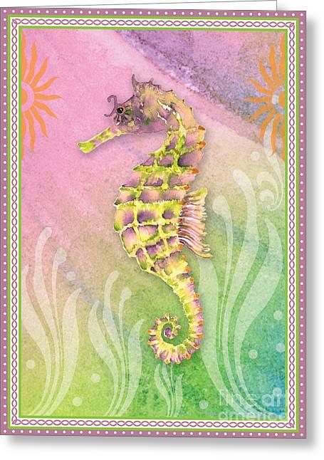 Seahorse Violet Greeting Card by Amy Kirkpatrick