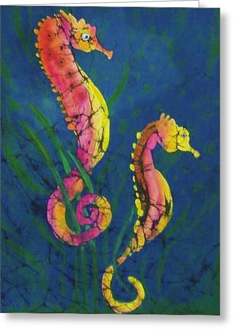 Seahorse Tapestries - Textiles Greeting Cards - Seahorses Greeting Card by Kay Shaffer