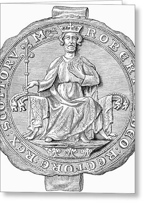 Seal Drawings Greeting Cards - Seal Of Robert The Bruce,1274 To 1329 Greeting Card by Ken Welsh