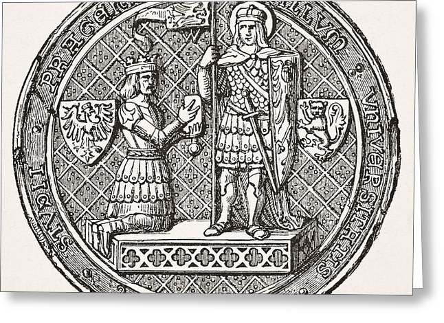 Seal Drawings Greeting Cards - Seal Of The University Of Prague From Greeting Card by Ken Welsh