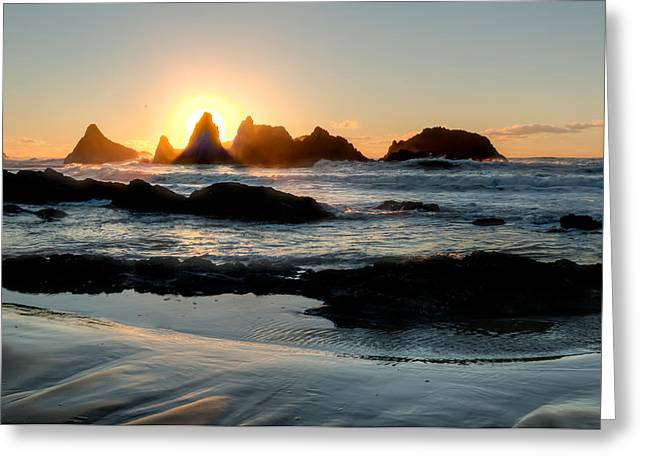 Monolith Greeting Cards - Seal Rock Sunset Greeting Card by Kristina Rinell