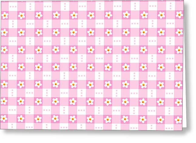 Seamless Pink Floral Gingham Background Greeting Card by Natalia Ratselmeister