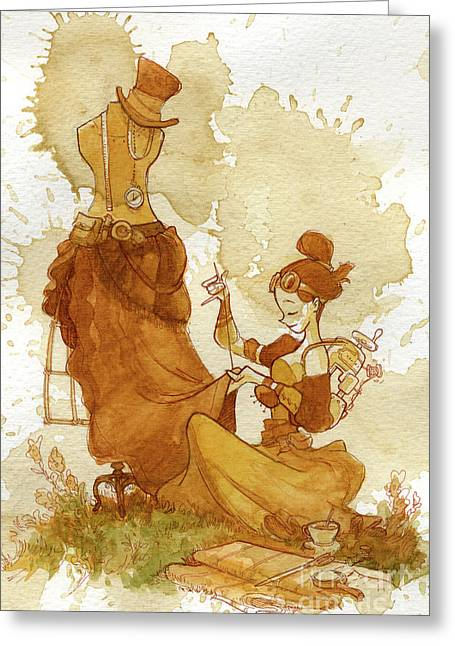 Steampunk Greeting Cards - Seamstress Greeting Card by Brian Kesinger