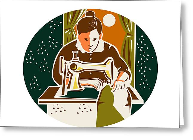 Dressmaker Greeting Cards - Seamstress Dressmaker Sewing Oval Retro Greeting Card by Aloysius Patrimonio