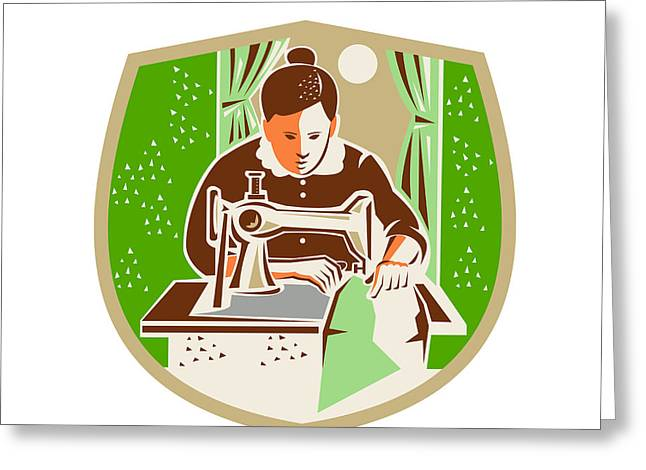 Dressmaker Greeting Cards - Seamstress Dressmaker Sewing Shield Retro Greeting Card by Aloysius Patrimonio