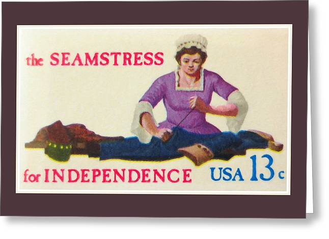 Old Greeting Cards - Seamstress for independence Greeting Card by Lanjee Chee
