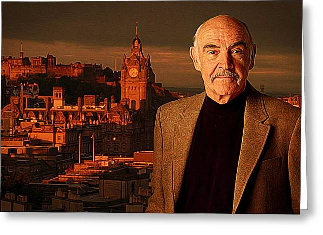 Basinger Greeting Cards - Sean Connery Greeting Card by Queso Espinosa