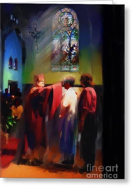 Church Photos Greeting Cards - Seans Confirmation Greeting Card by Jeff Breiman