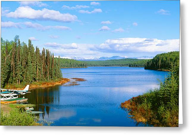 Propeller Greeting Cards - Seaplane On Talkeetna Lake, Alaska Greeting Card by Panoramic Images