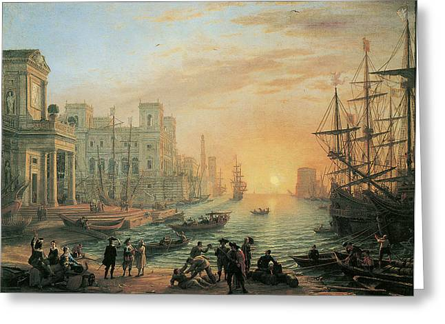 Sea Going Greeting Cards - Seaport at Sunset Greeting Card by Claude Lorrain