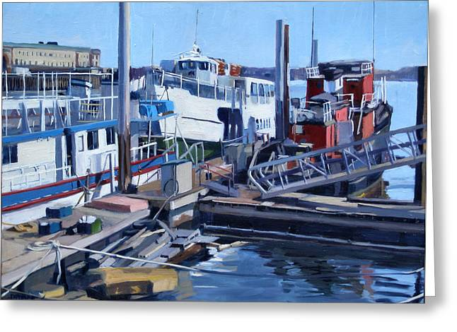 South Boston Prints Greeting Cards - Seaport Ave Greeting Card by Deb Putnam