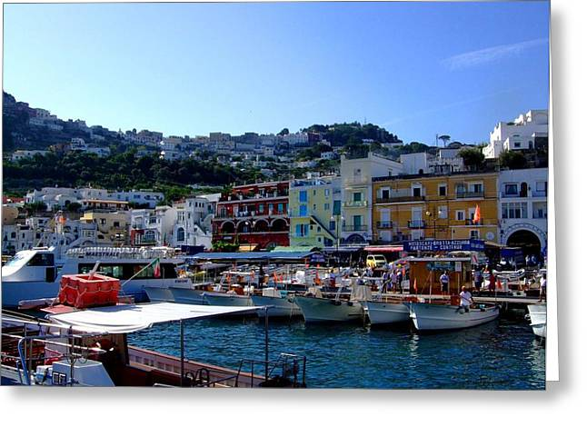 Yatch Greeting Cards - Seaport of Capri Italy Greeting Card by Mindy Newman