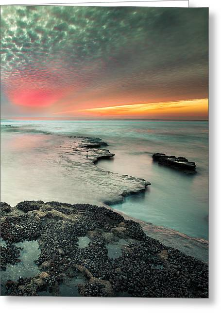 California Beaches Greeting Cards - Searchlight Sunset Greeting Card by Alexander Kunz