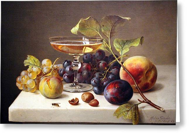 Jacksonville Greeting Cards - Searles Still Life With Fruit And Champagne Greeting Card by Cora Wandel