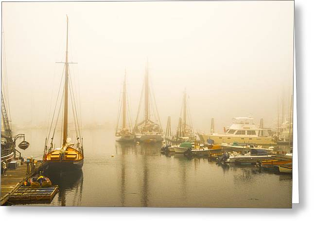 Ocean Sailing Greeting Cards - Seascape at Dawn Greeting Card by Vic Bouchard