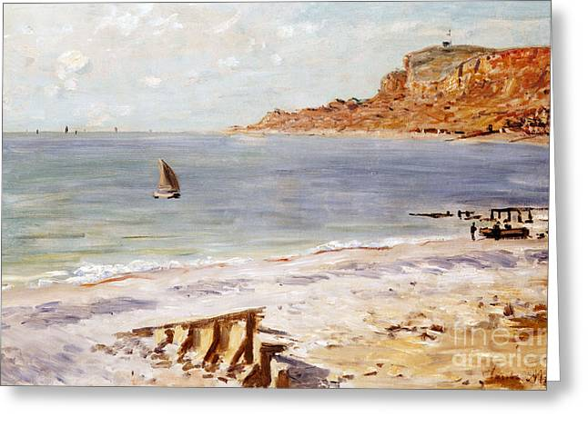Boats. Water Greeting Cards - Seascape at Sainte Adresse  Greeting Card by Claude Monet