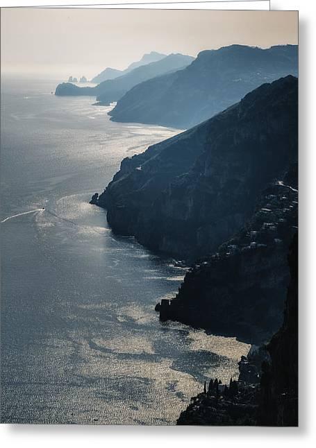 Amalfi Sunset Greeting Cards - Seascape Greeting Card by Joana Kruse