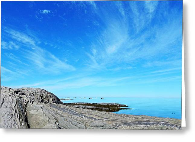 On The Beach Greeting Cards - Seascape on the Rocks Greeting Card by Dan Comeau