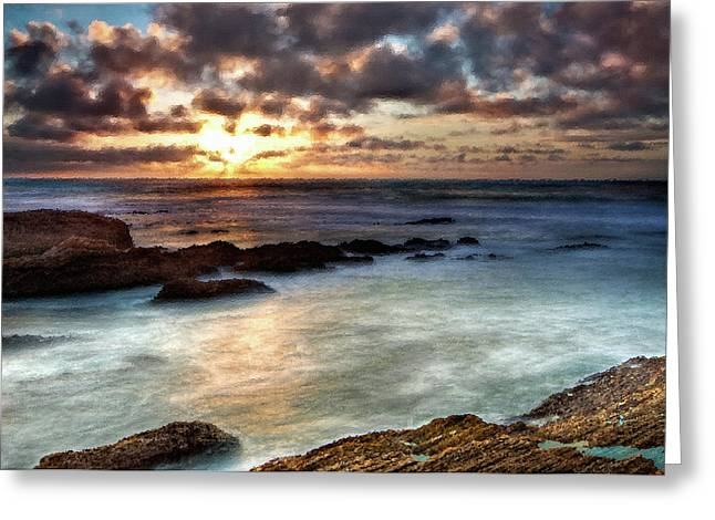 Seascape Paintings For Sale - Ocean Breath Greeting Card by Frances Leigh