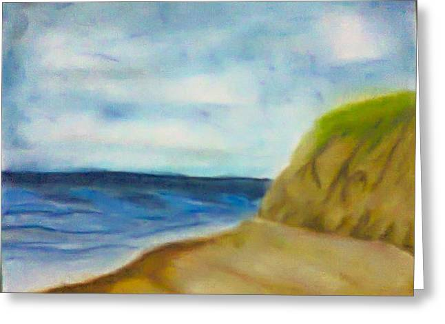 Loneliness Pastels Greeting Cards - Seascape Greeting Card by Suhail Noor