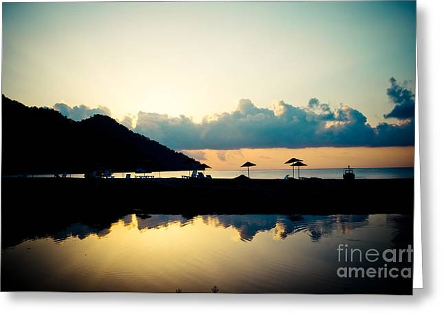 Blue Green Wave Greeting Cards - Seascape Sunrise Sea And Clouds  Greeting Card by Raimond Klavins