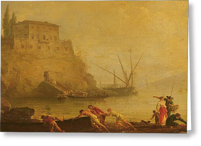 Seascape, Sunset  Fishermen Pushing Out A Boat  Greeting Card by Claude Joseph Vernet