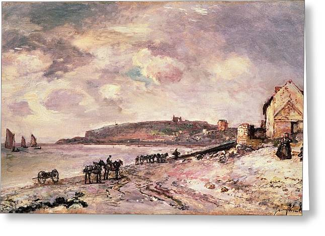 Yachting Greeting Cards - Seascape with ponies on the beach Greeting Card by Johan Barthold Jongkind
