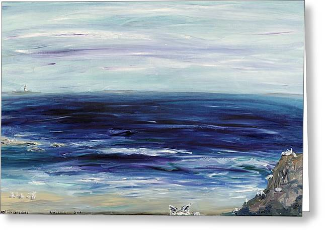 Seascape With White Cats Greeting Card by Regina Valluzzi