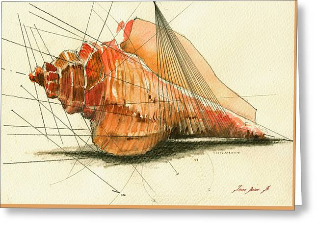 Nautical Print Greeting Cards - Seashell art painting Greeting Card by Juan  Bosco